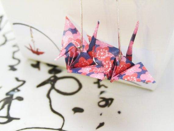Handmade Origami Paper Crane Earrings Cherry Blossom Pattern- Purple & Pink. Imogen Wilson Jewellery -Etsy https://www.etsy.com/shop/findimogenwilson