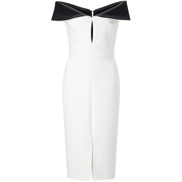 Cushnie et Ochs Black and White Neoprene Sheath Dress ($1,047) ❤ liked on Polyvore featuring dresses, body conscious dress, white and black dress, off shoulder bodycon dress, bodycon dress and black and white dress