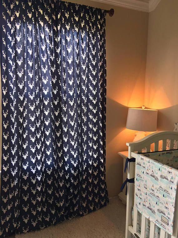 Navy Deer Curtain Panels Childrens Designer