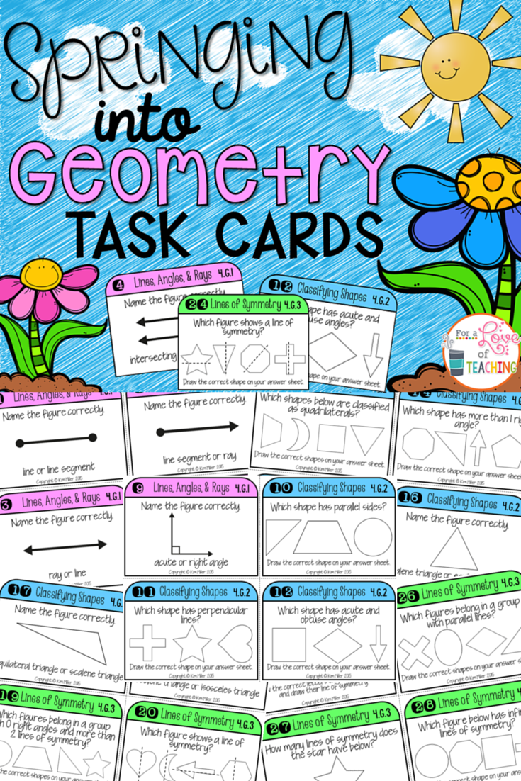 Geometry: Lines, Angles, Shapes, Symmetry Math Test Prep Task Cards ...