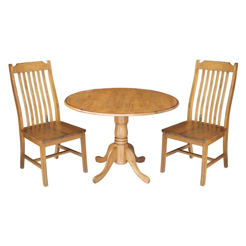 International concepts round dual drop leaf table u curved slat back