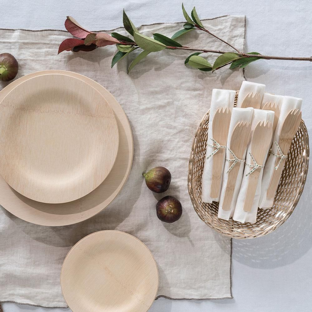 Bambu Home Disposable Dinnerware All Occasion Veneerware Bamboo Plates Round Bamboo Plates Plates Palm Plates