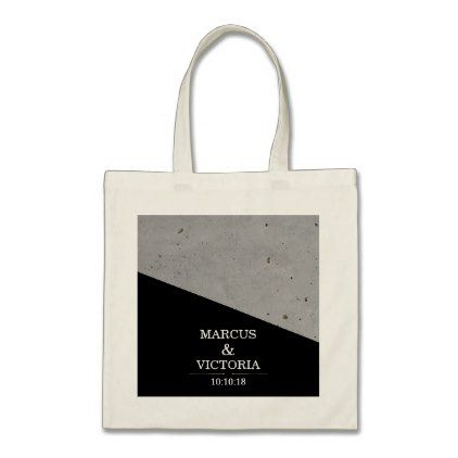 Concrete Black and White Modern Wedding Tote Bag - wedding bag marriage design idea custom unique