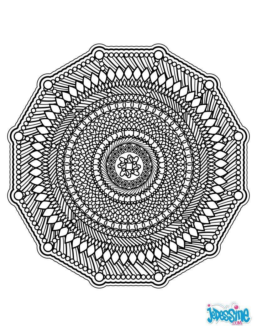 Mandala tr¨s graphique avec de nombreux traits € colorier pour un effet vintage €