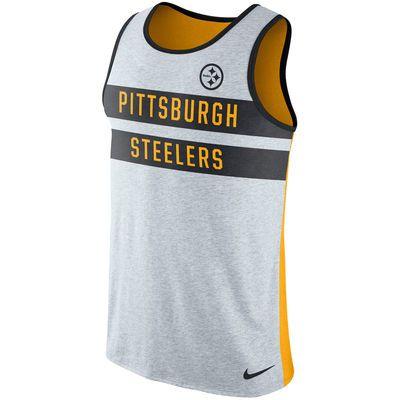 Men s Pittsburgh Steelers Nike Heathered Gray Gold Stripe Tri-Blend Tank Top 33c7b04d0