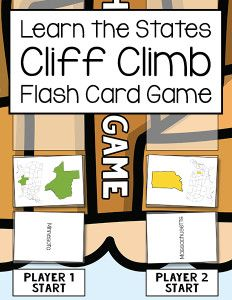 Learn the States Cliff Climb Flash Card Game - a fun game for teaching the 50 states.