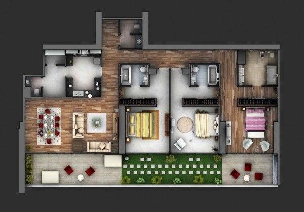 3 Bedroom Apartment/House Plans | Floorplans | Studio ...