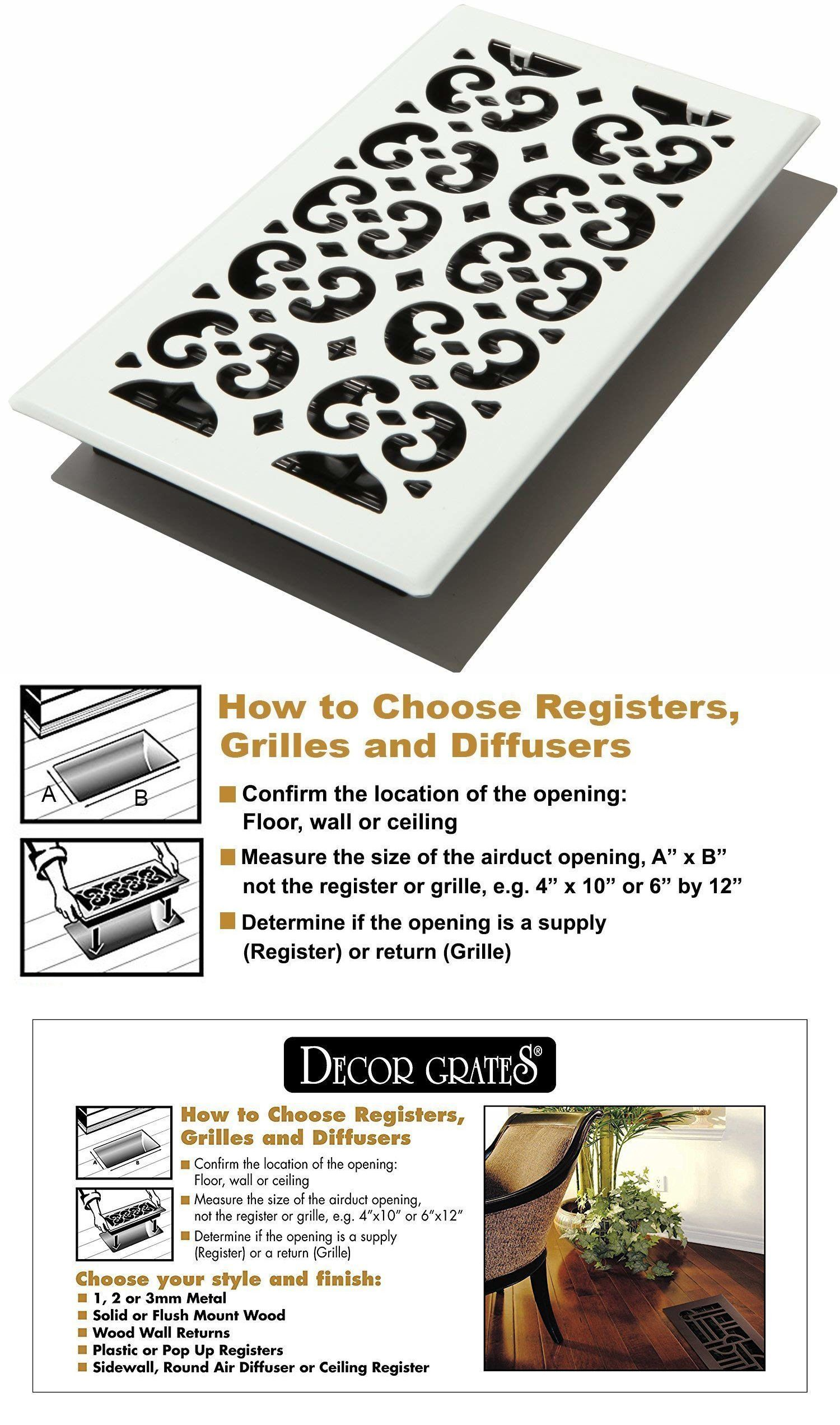 Andirons Grates and Firedogs 79648: Decor Grates Fsh612-Wh