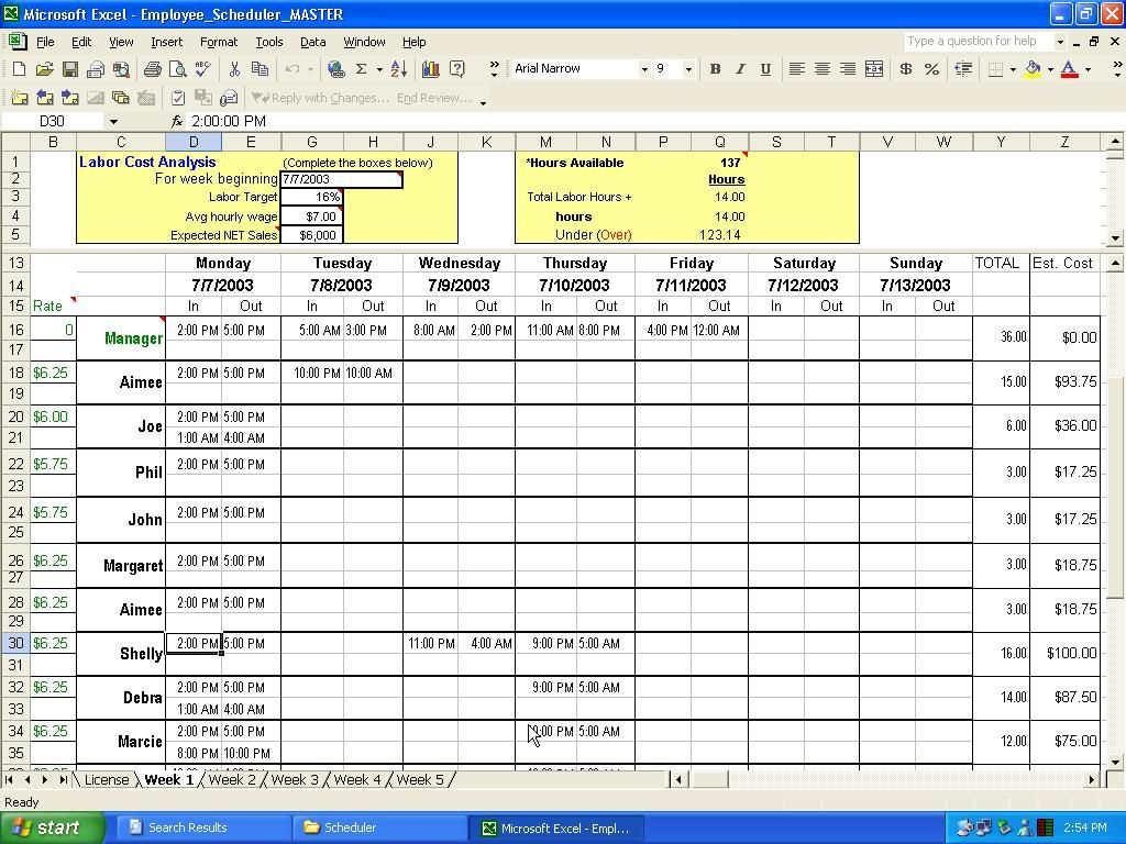 excel crewing schedule | Employee Scheduler For Excel And ...