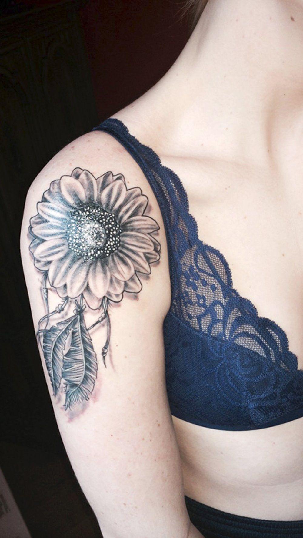 Sunflower Henna Tattoo: Realistic Sunflower Arm Shoulder Tattoo Ideas For Women