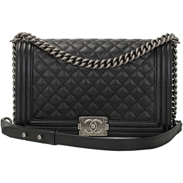 Pre Owned Chanel Black Caviar New Medium Boy Bag 6 100 Liked On Polyvore Featuring Bags Handbags Purses Cross Body Purse