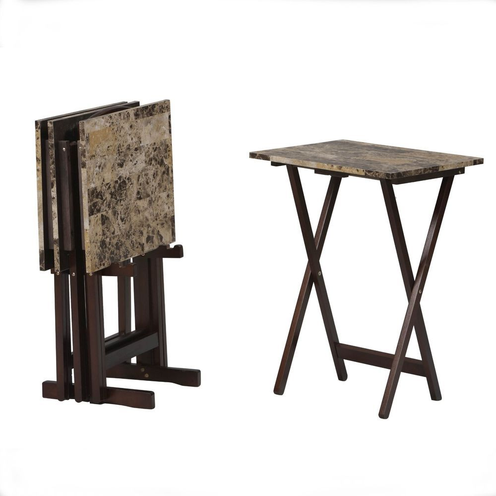 TV Dinner Trays And Snack Tables With Stand Wood Folding 5 Piece Set Faux  Marble