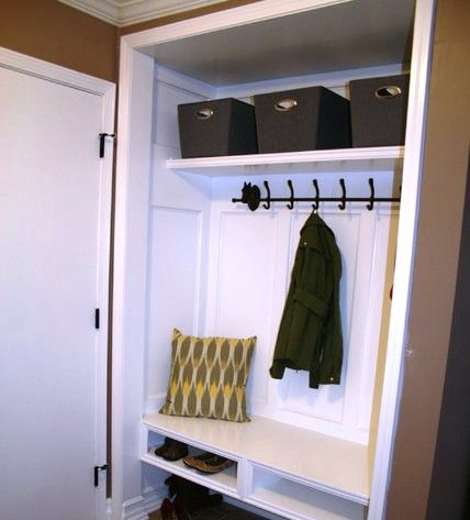Hall Closet Mudroom DIY