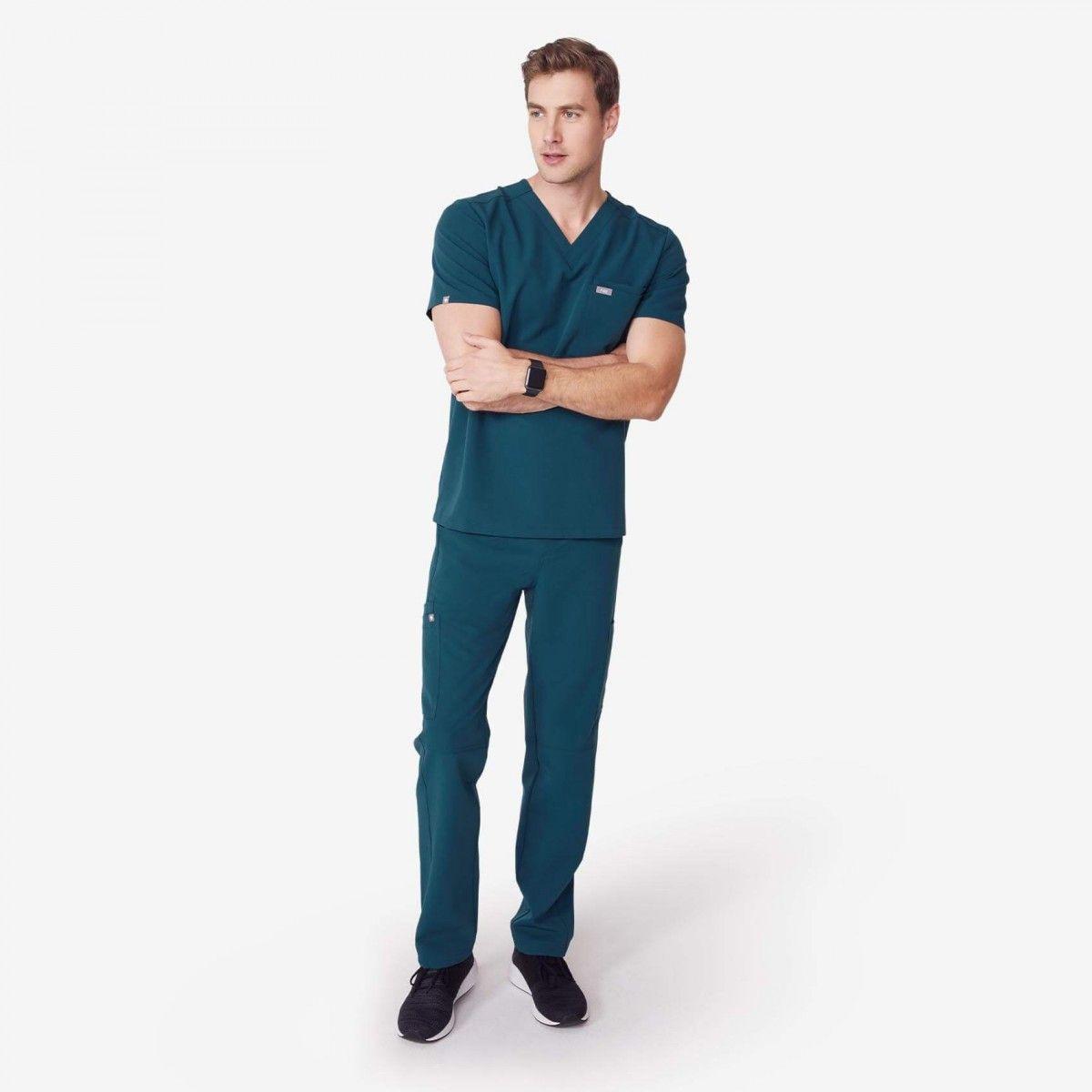 Navy Blue, XS FIGS Medical Scrubs Mens Leon Two-Pocket Scrub top