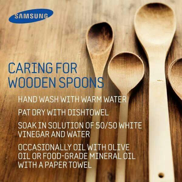Proper car of wooden spoons