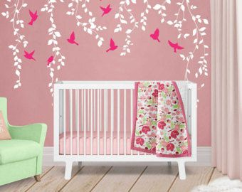 Vine Wall Decal For Baby Girl Nursery Décor   Wall Vines Nursery Decals  Large Tree Wall Decal   Baby Wall Decal Tree With Birds   WB402