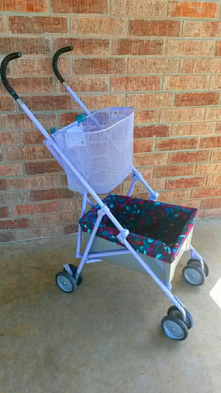 Umbrella stroller made into a granny cart. Helps grandma