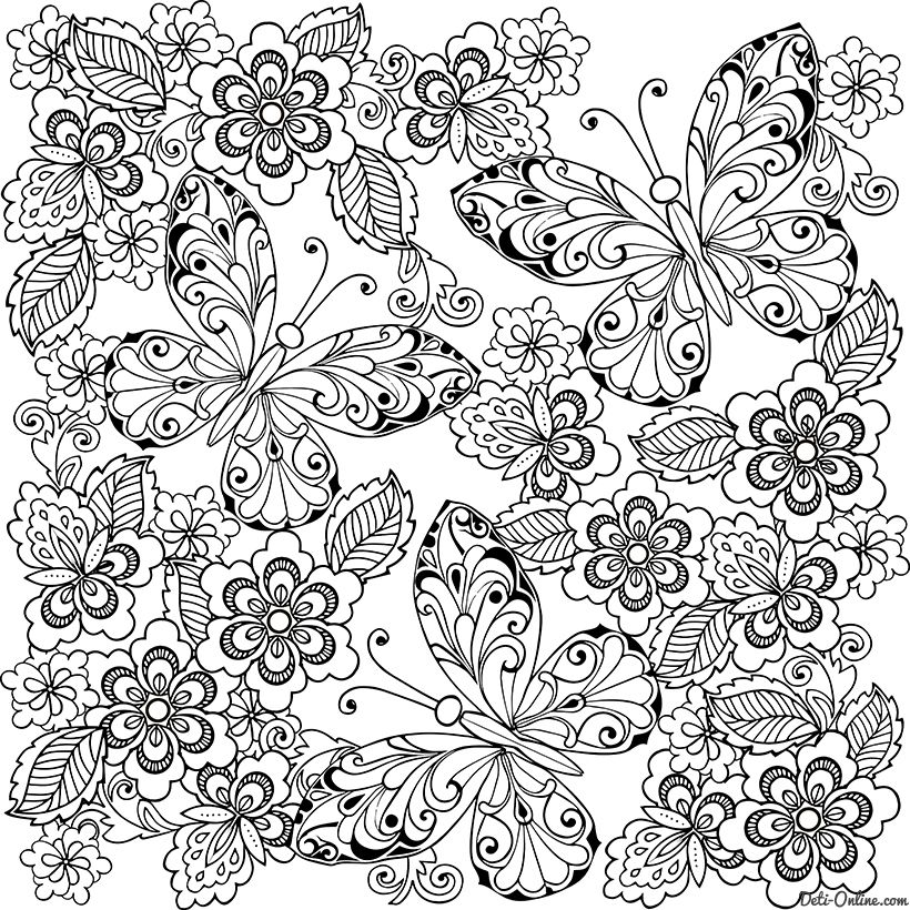 Раскраска Антистресс Бабочки | Цветы нарисованные от руки ...