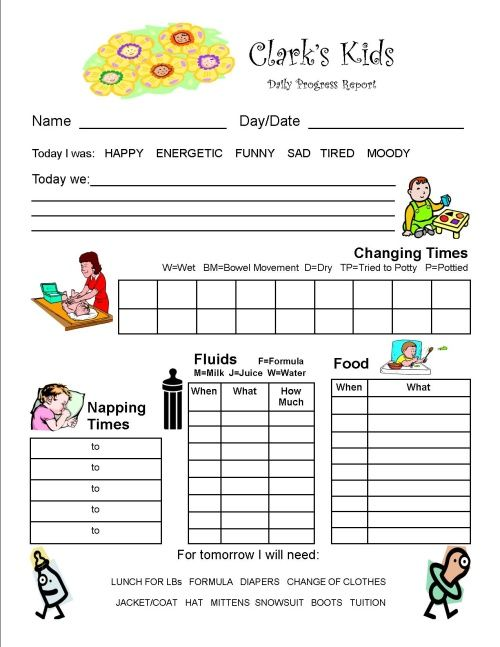 preschool progress report - Yahoo Image Search Results daycare - daily progress report format