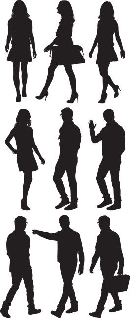 Multiple Image Of Man And Woman Walking Arte Vectorial 166008453 Silhouette People Sketches Of People Silhouette