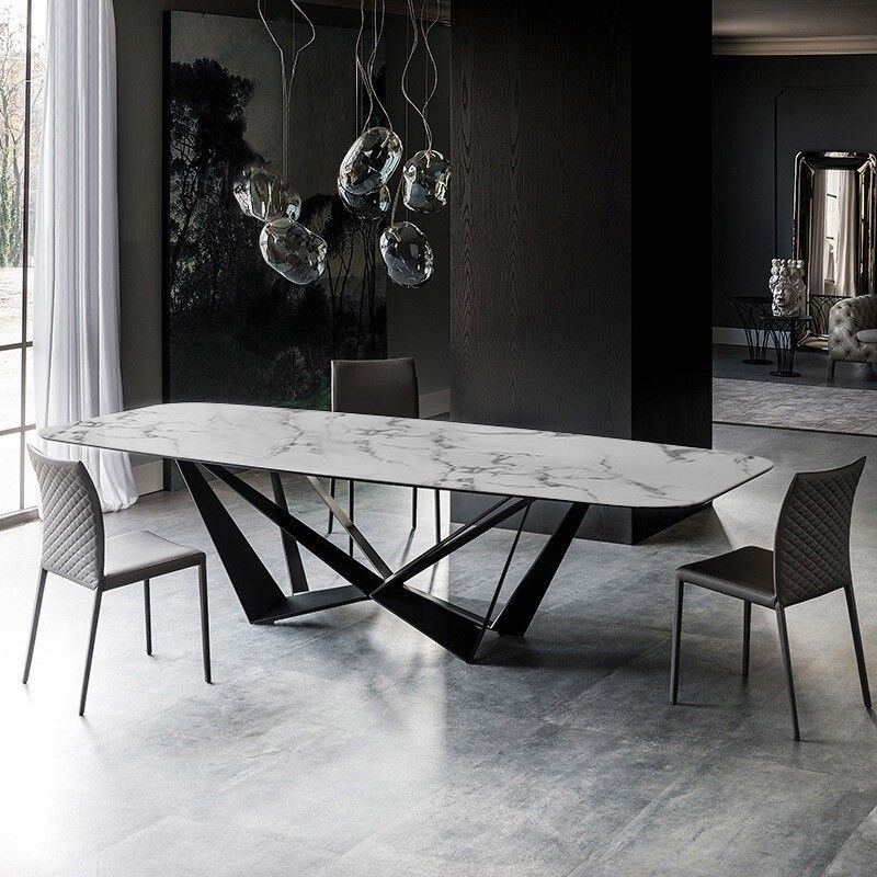 Modern Stylish Rectangle White Faux Marble Top Dining Table With Black Metal Base In Small Medium Large Marble Top Dining Table Keramik Dining Table Dining Table Marble