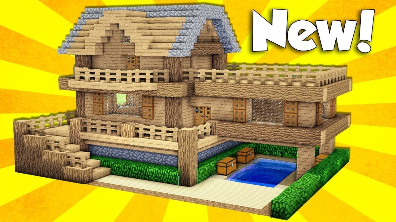 Minecraft Wooden House Tutorial How To Build A House In Minecraft E Minecraft Wooden House Minecraft Houses Minecraft Blueprints