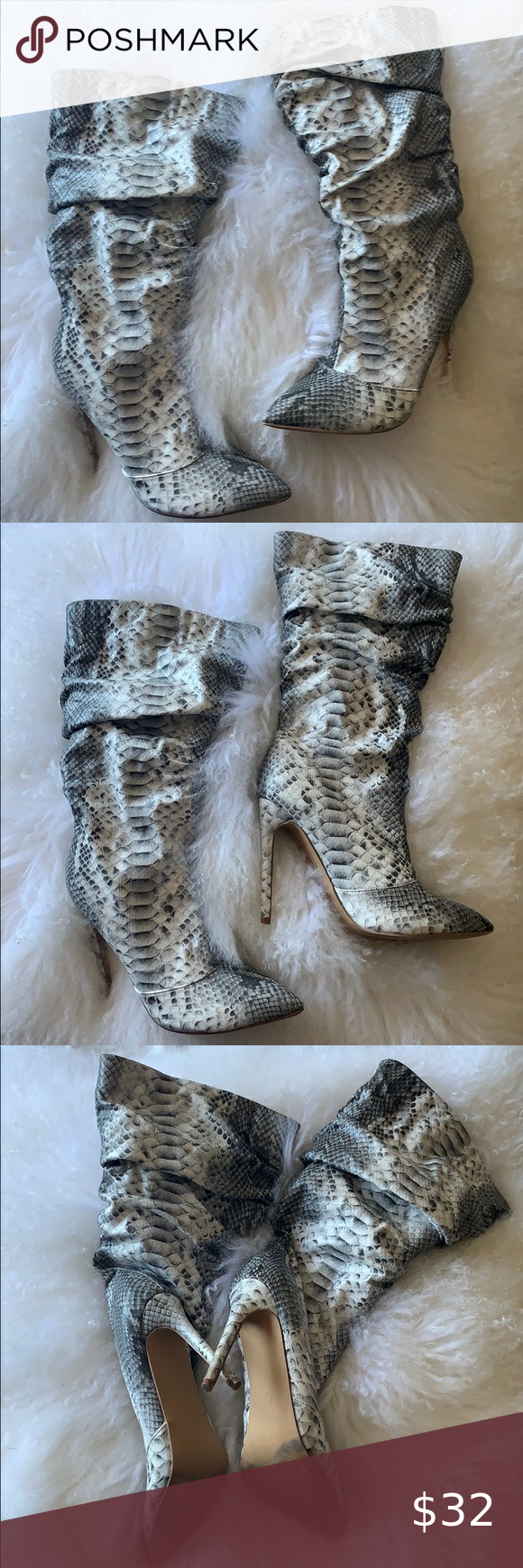 Photo of Snakeskin scrunch booties Snakeskin scrunch booties. Gray and white. Size 8. Onl…