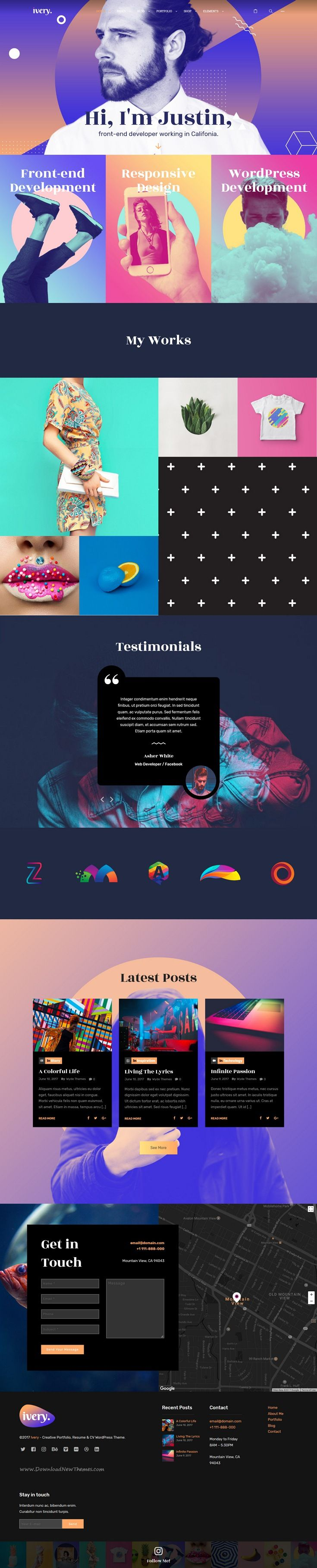 ivery is clean and modern design 5in1 responsive  wordpress theme for creative  resume  cv and