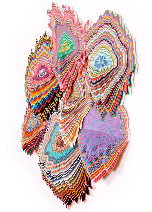 Jen Stark. Vividity-side. sculptural cut paper . painting meets sculpture meets collage.
