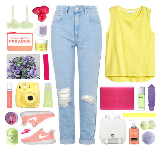 """""""ANNA"""" by nadiasxox ❤ liked on Polyvore featuring H&M, Topshop, Incase, Neutrogena, Simone Perele, Accessorize, Chanel, W2 Products, Proenza Schouler and NIKE"""