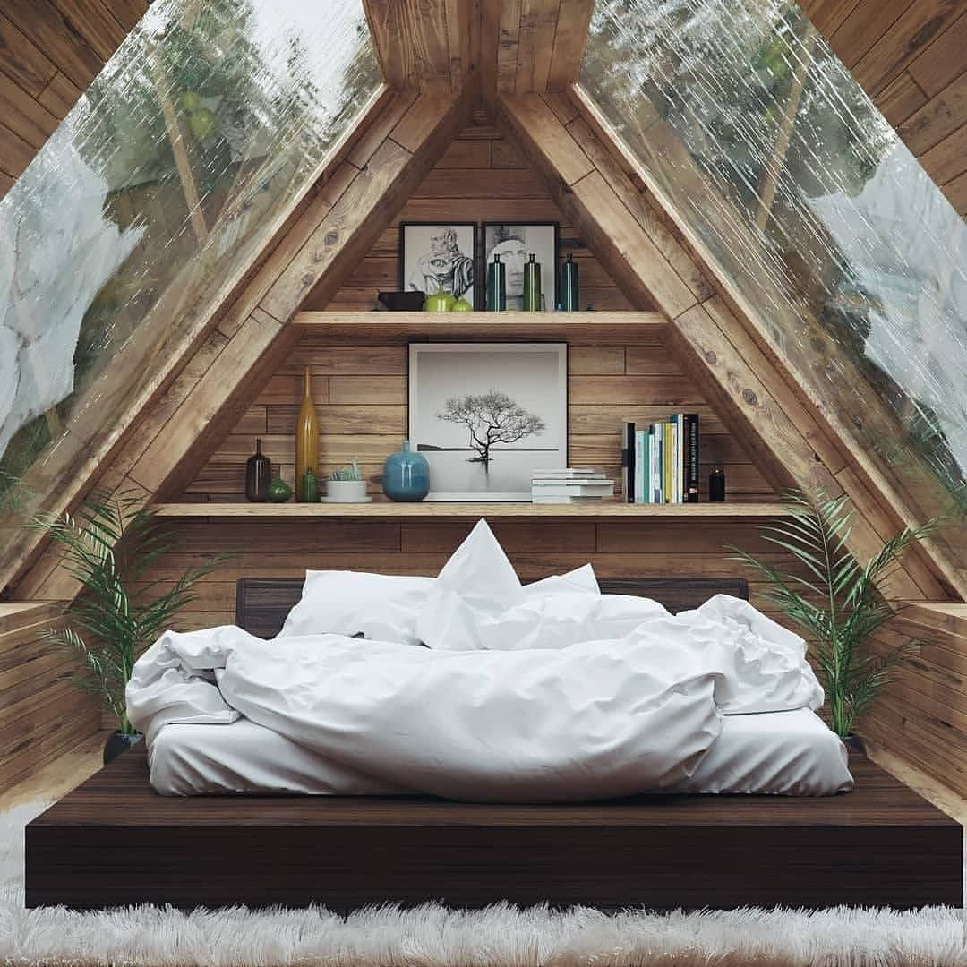 Log Wooden House On Instagram Can A Bedroom Even Get Cozier Would You Like To Sleep In This Room Tag A Fr Attic Bedroom Small A Frame House House Design