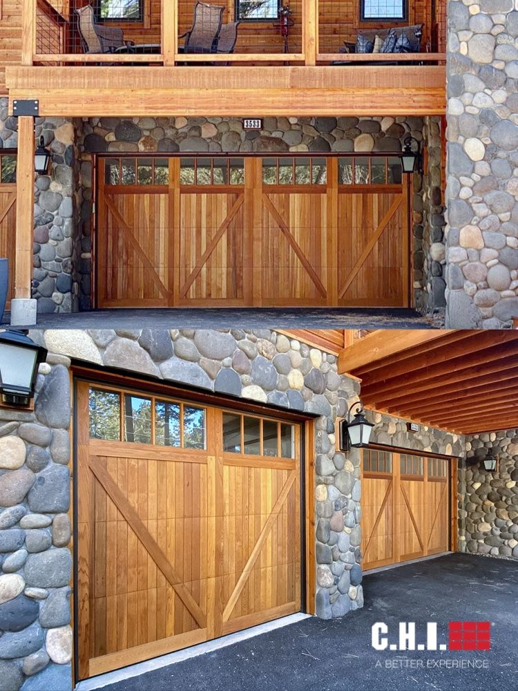 Wood Overlay Carriage House Garage Doors By C H I Overhead Doors In 2020 Garage Door Styles Carriage House Garage Doors Diy Garage Door