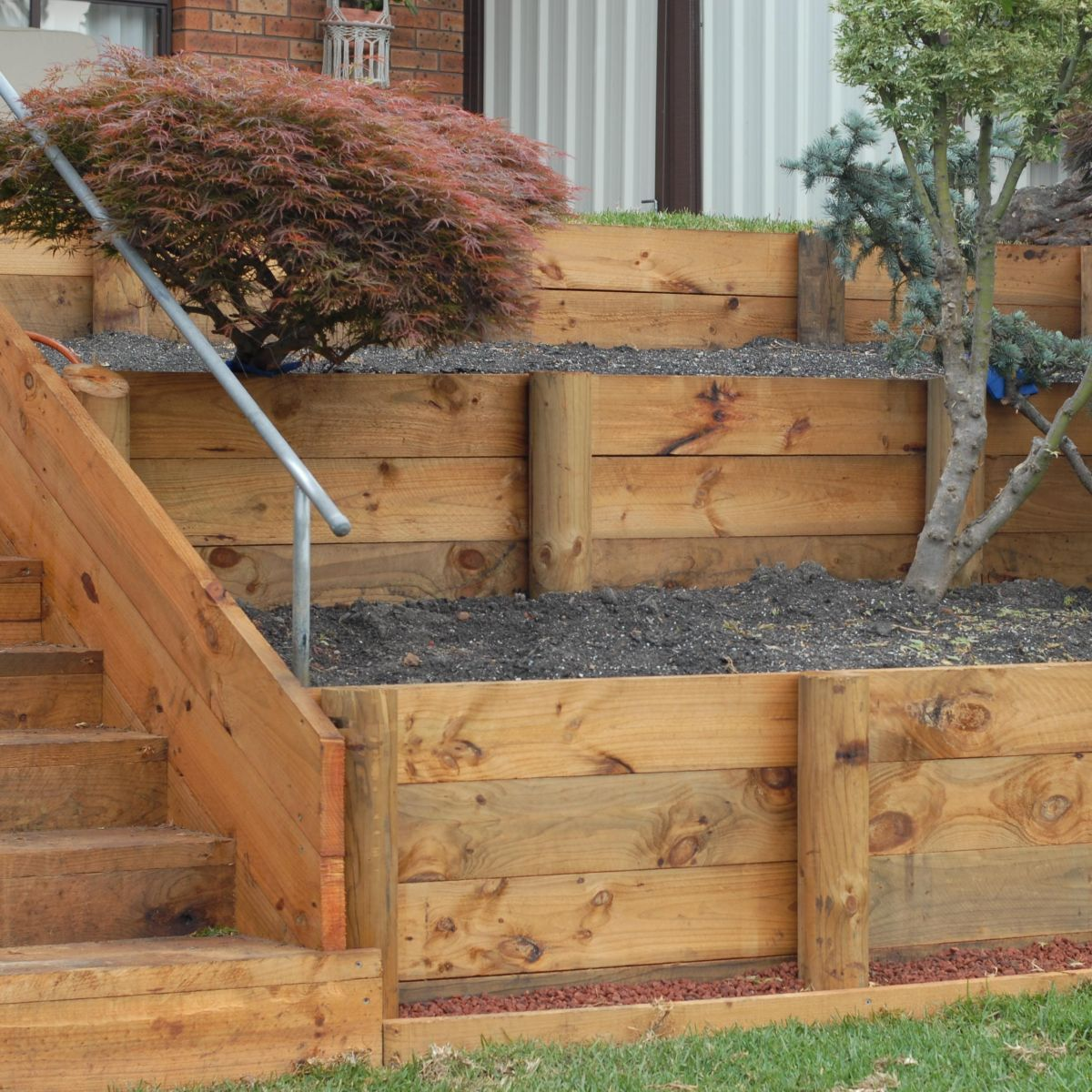 Garden Steps On A Slope Retaining Walls Landscaping