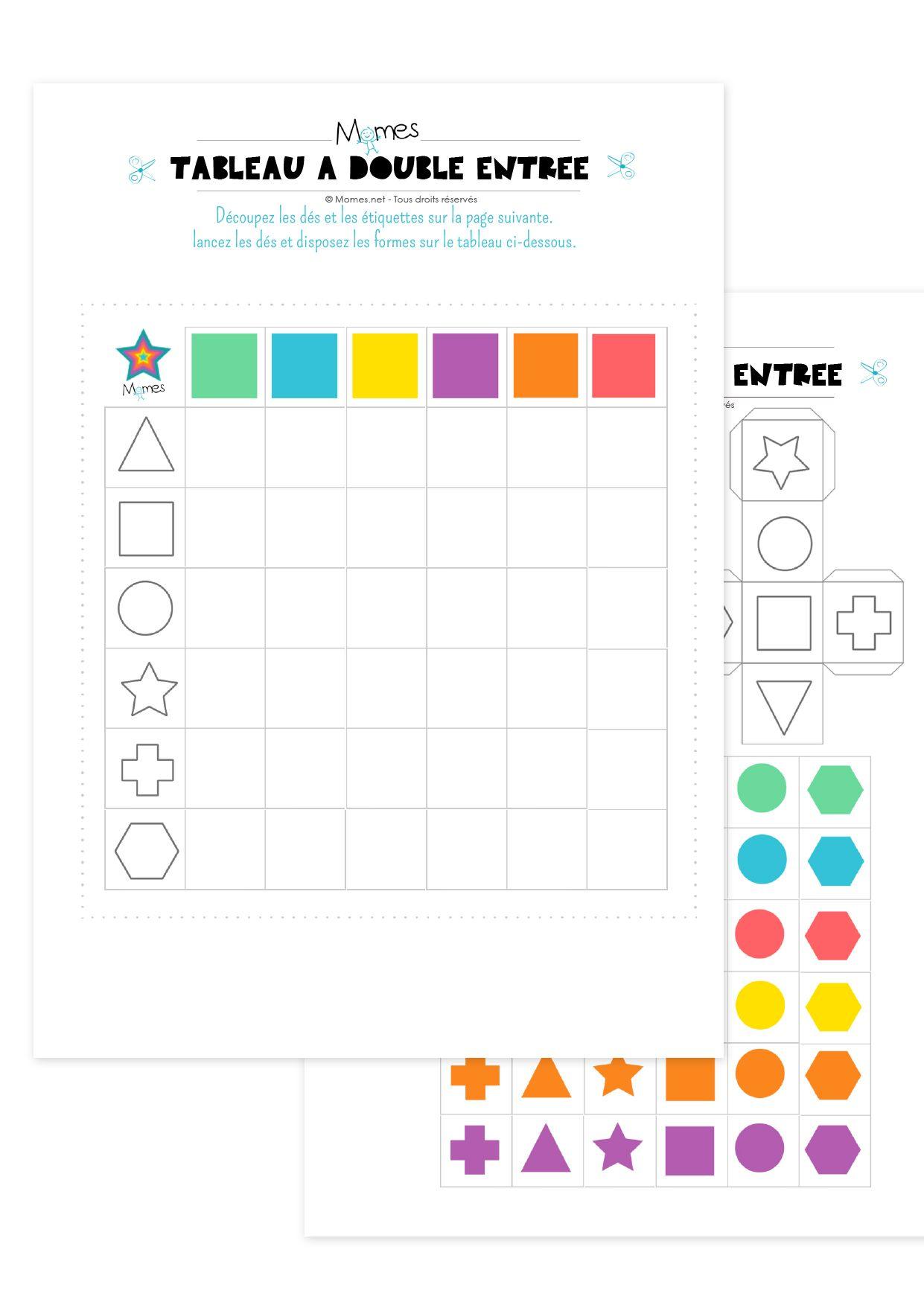 Bekannt Tableau à double entrée : formes et couleurs | Entrées, Tableau et  CM52