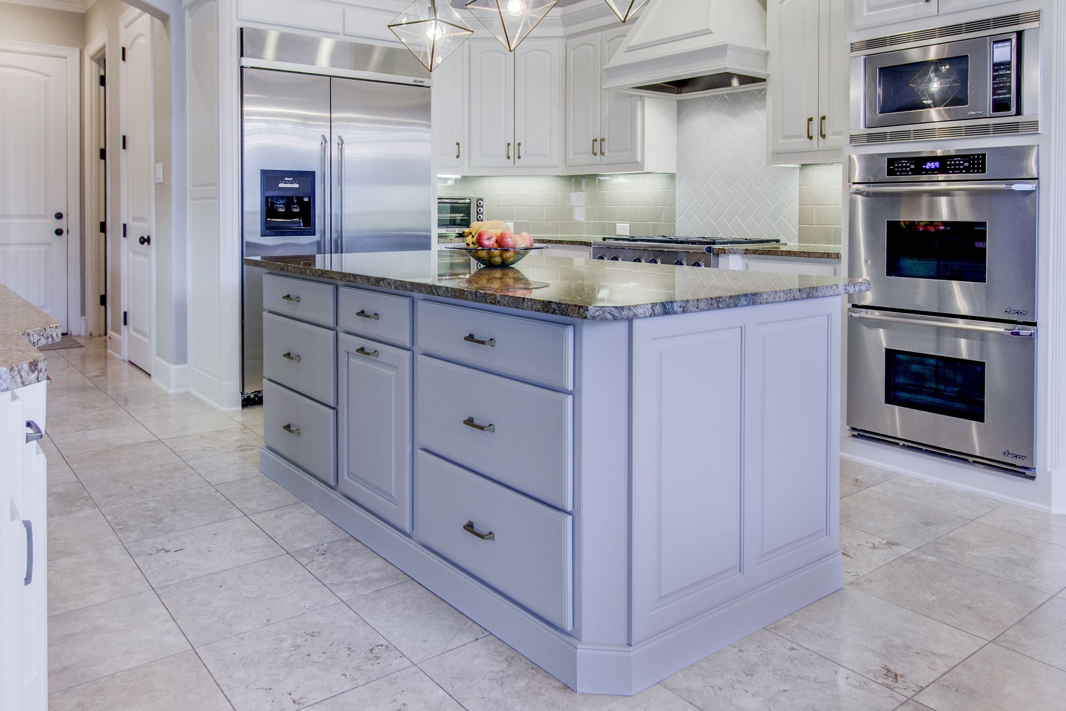 The Client Wanted To Brighten Up The Space Without Changing Their Granite  Countertops. The Contrast Between The Light Cabinets And Gold Toned Granite  Was ...