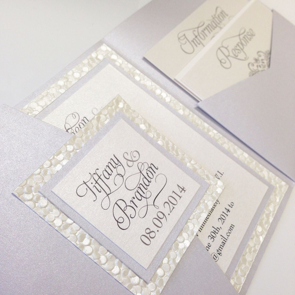 Pebble Paper Pewter And Ivory Wedding Invitation Pocketfold With Script Lettering Font Www Thepolkadotpaper