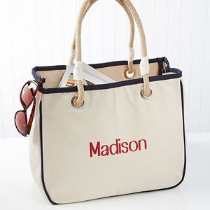 Embroidered Grey Canvas Tote Bag With Rope Handles Embroidered Canvas Rope Tote Name