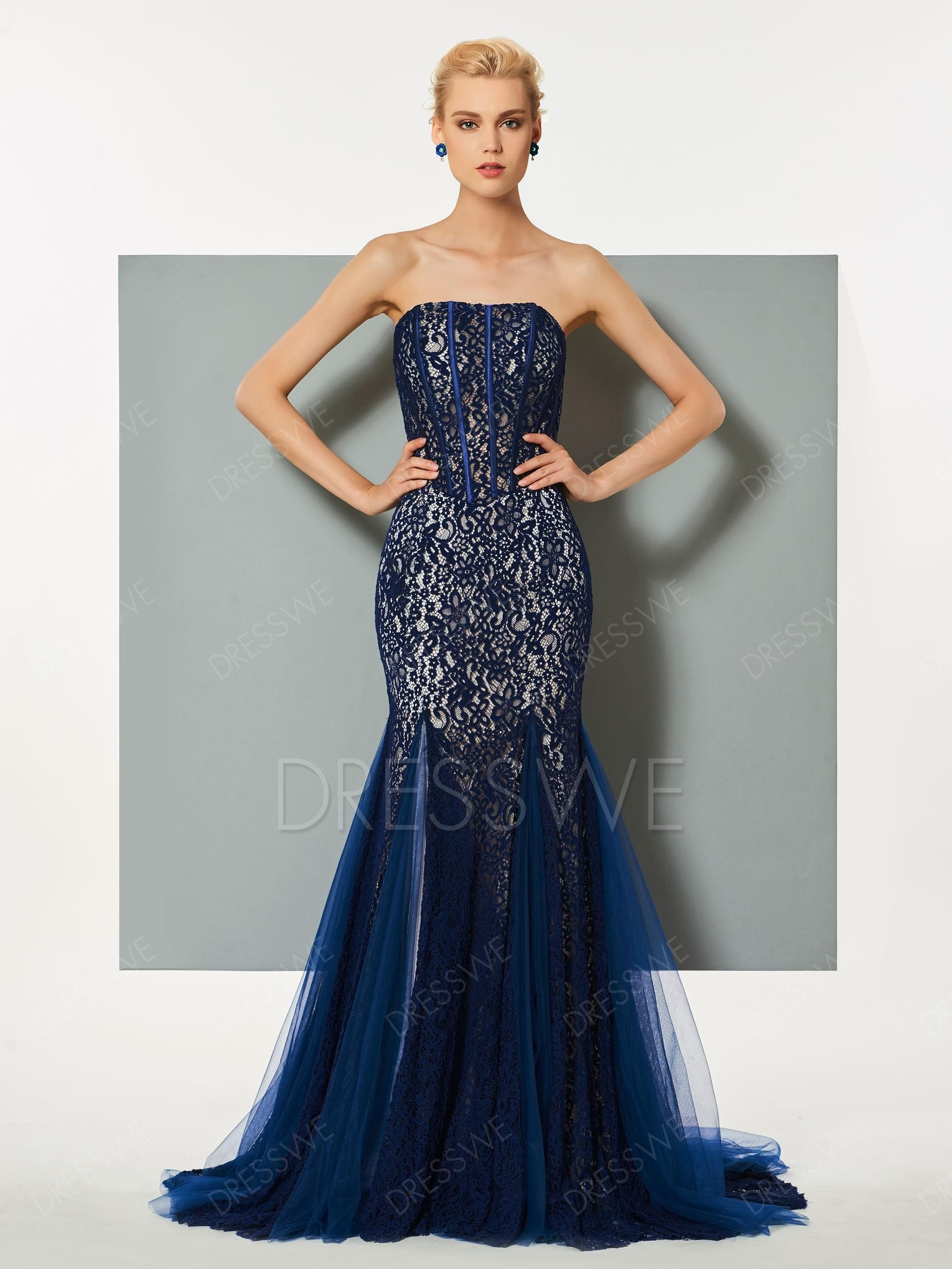 Dresswe dresswe strapless lace mermaid evening dress with sweep
