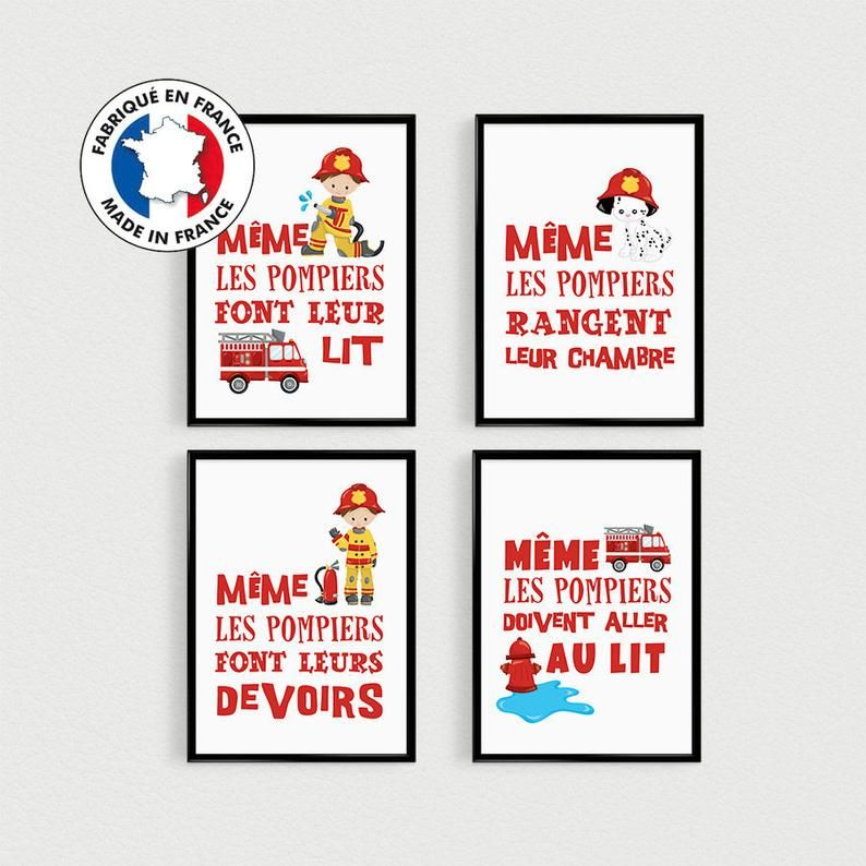 Promo Set Of 4 Posters Quotes In French Firemen Pele Mele In Bedroom Kids Poster Kids Poster Hero Quotes Superhero Quotes