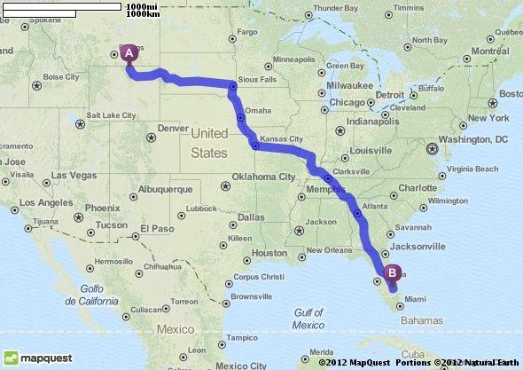 Driving Directions from Sheridan, Wyoming to Okeechobee