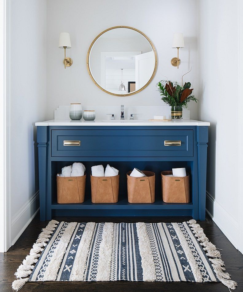 Home Bunch On Instagram This Is One Beautiful Blue Vanity Paint Color Is Benjamin Moore Hc 155 Blue Vanity Small Bathroom Vanities Modern Bathroom Vanity
