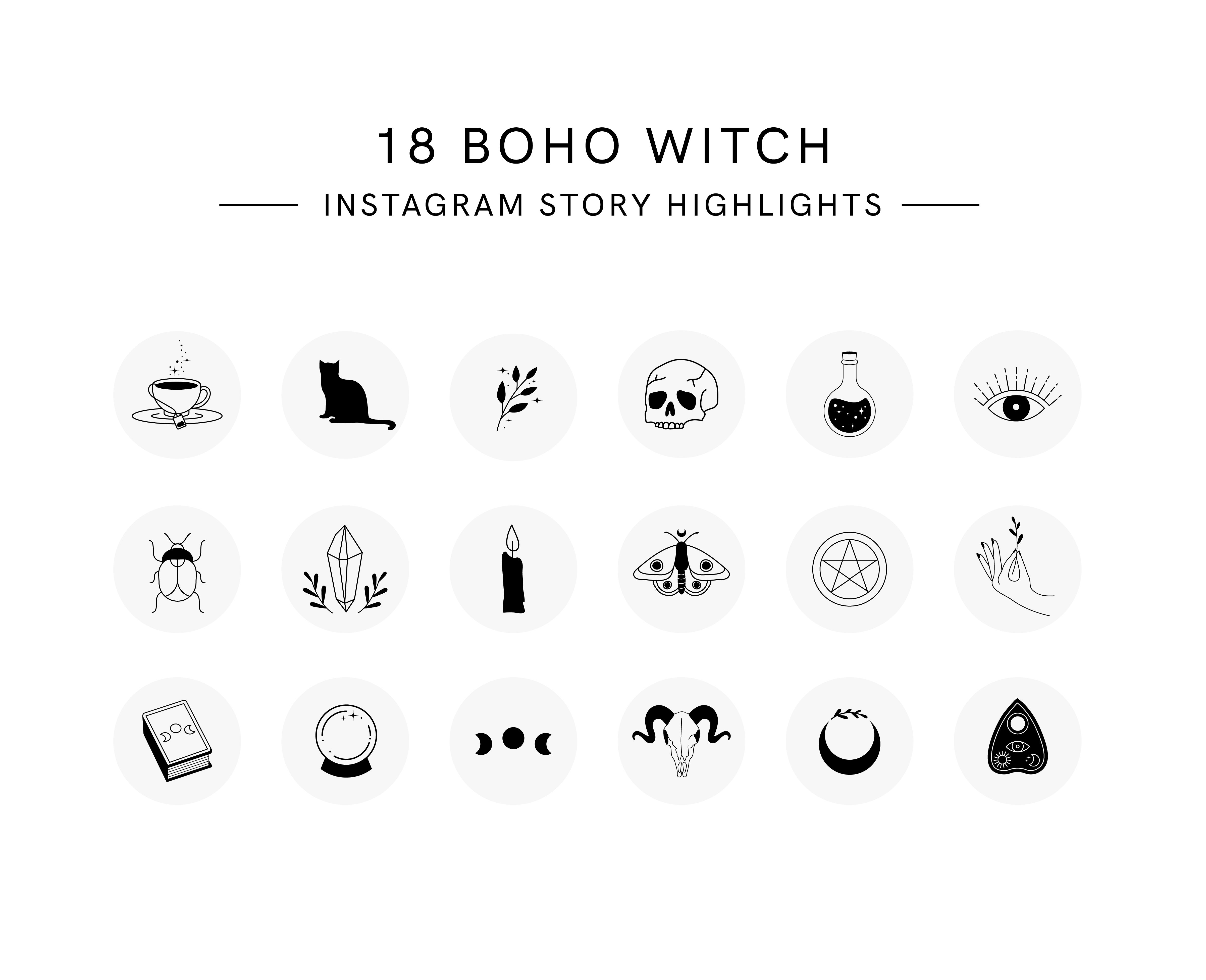 Boho Witch Instagram Story Highlight Covers Template