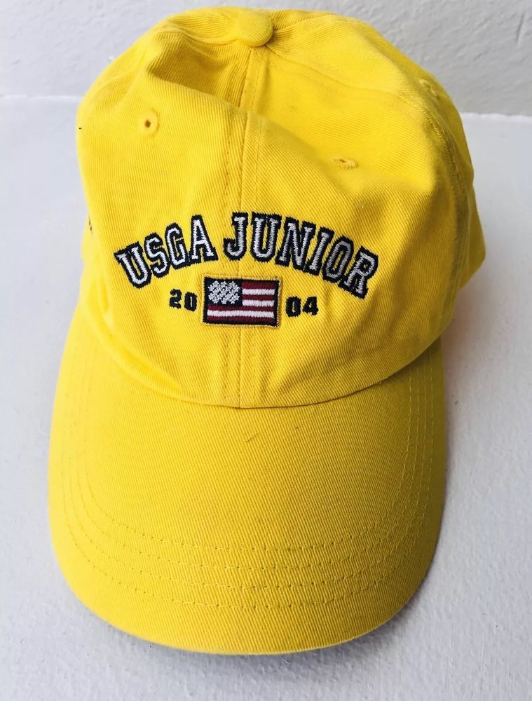 9d1850e1a623a Ahead Brand USGA Junior Golf 2004 Competitor Adjustable Yellow Baseball Hat  Rare  fashion  clothing