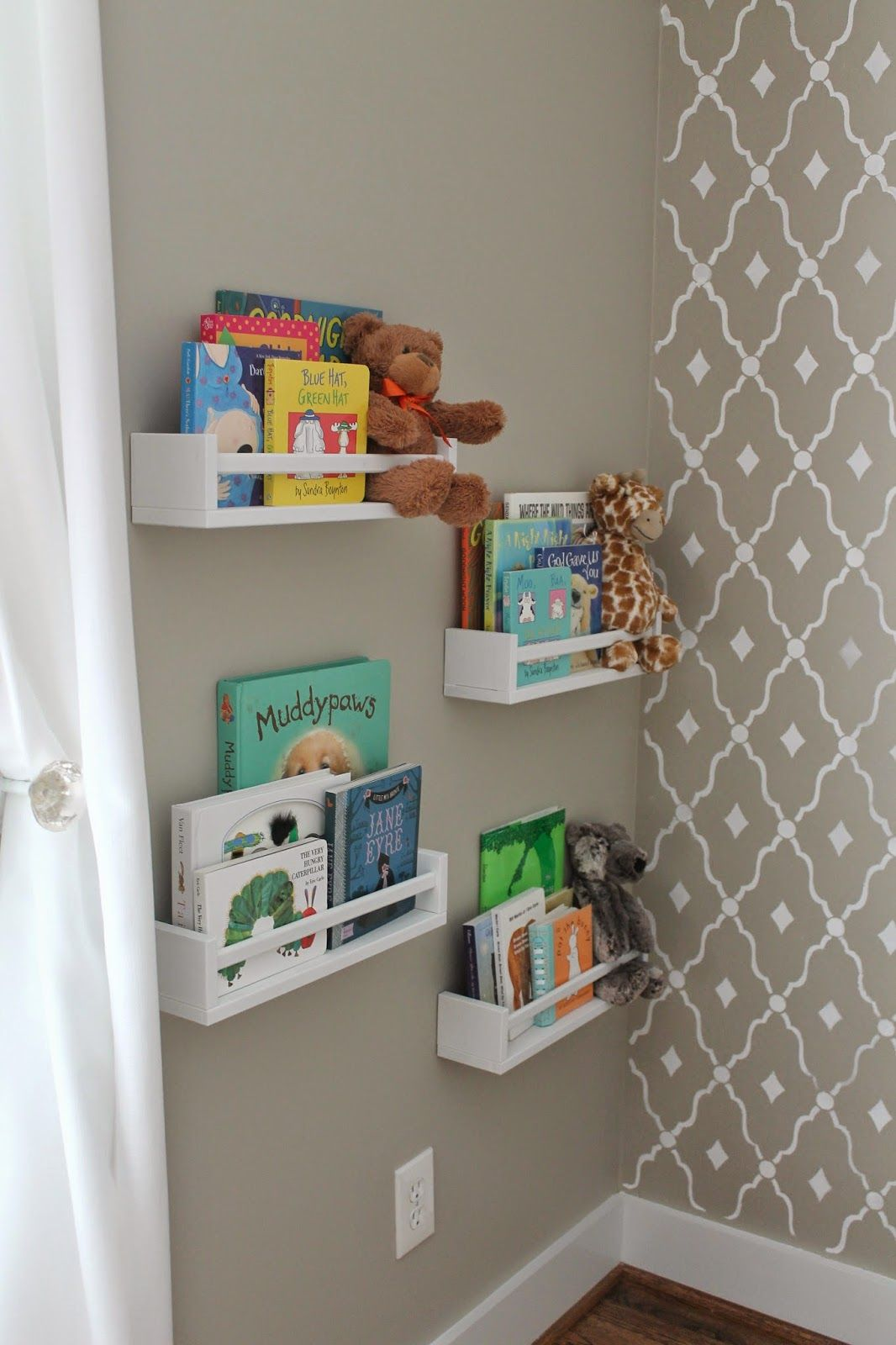 Wall Book Racks Ikea Spice Racks Used As Bookshelves Nursery Inspiration