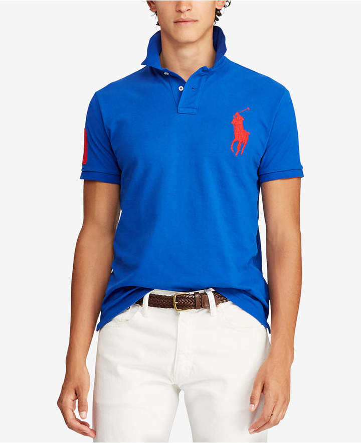 e018c8f2cc3d Polo Ralph Lauren Men s Big Pony Custom Slim Fit Mesh Polo
