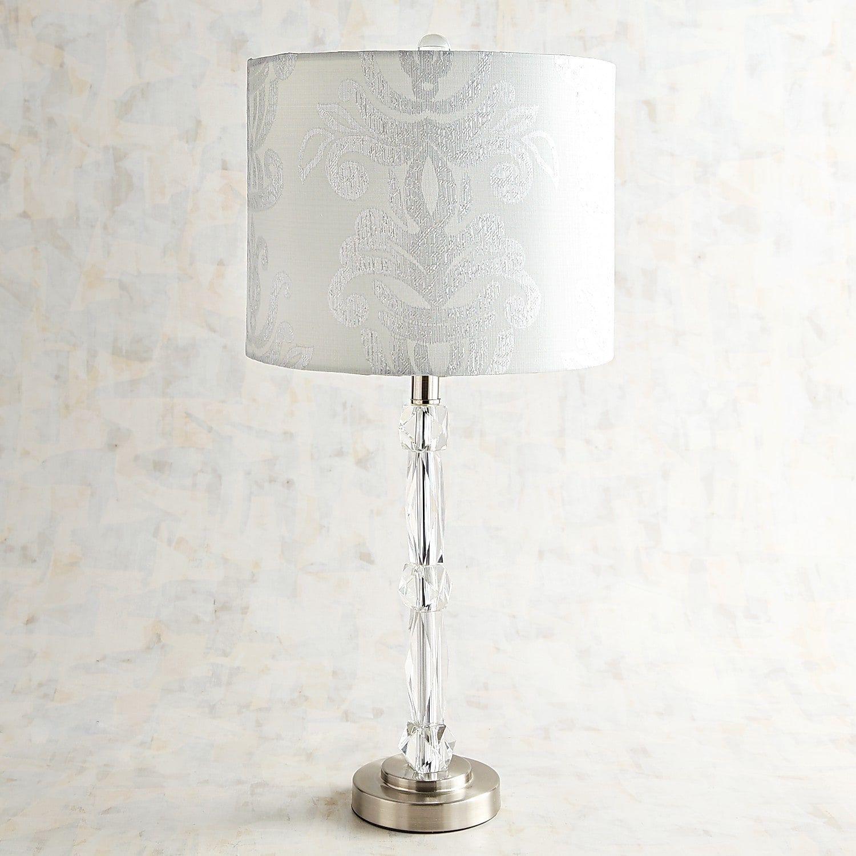 Zoe Damask Shade Crystal Table Lamp Table Lamp Crystal Table