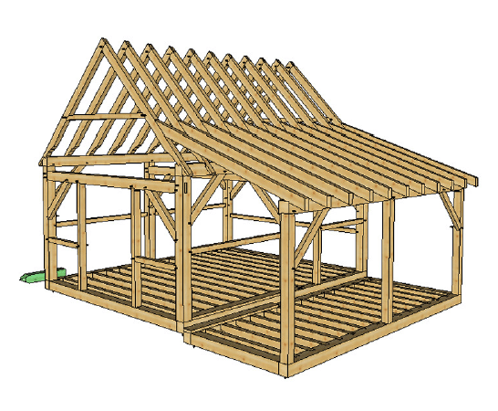 16x20 Post And Beam Cabin With Porch Timber Frame Hq Timber Frame Cabin Plans Timber Frame Cabin Timber Frame Plans