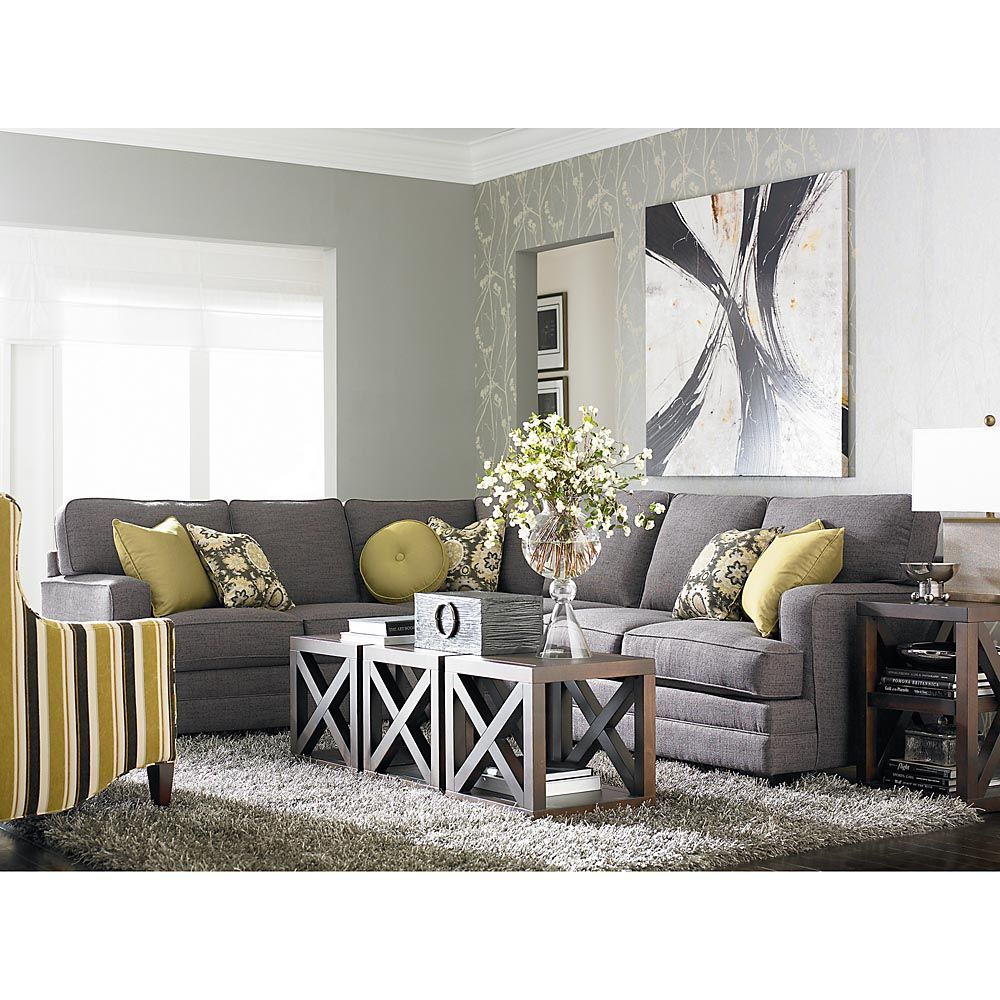 Tuesday 5 29 12 Custom Designed Estate L Shaped Upholstered Sectional I Like The Concept Of 3 Small Tables Together To Make A Large Coffee Table