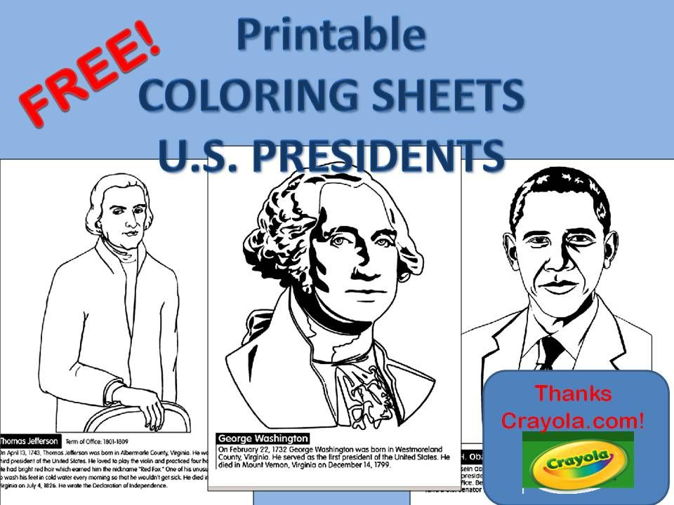 Free Printable Coloring Sheets For Many Us Presidents On Crayola