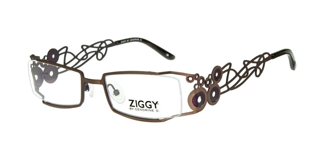 283b2d9c09 ZIG Eyewear  ZIGGY 1057 C2. This frame turns heads with its geometric  pattern and fun design in brown and purple.